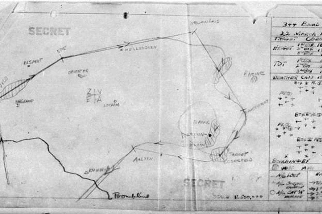 Diese Einsatzplan belegt die Flugrouten der US-Bomber am 22. März 1945.