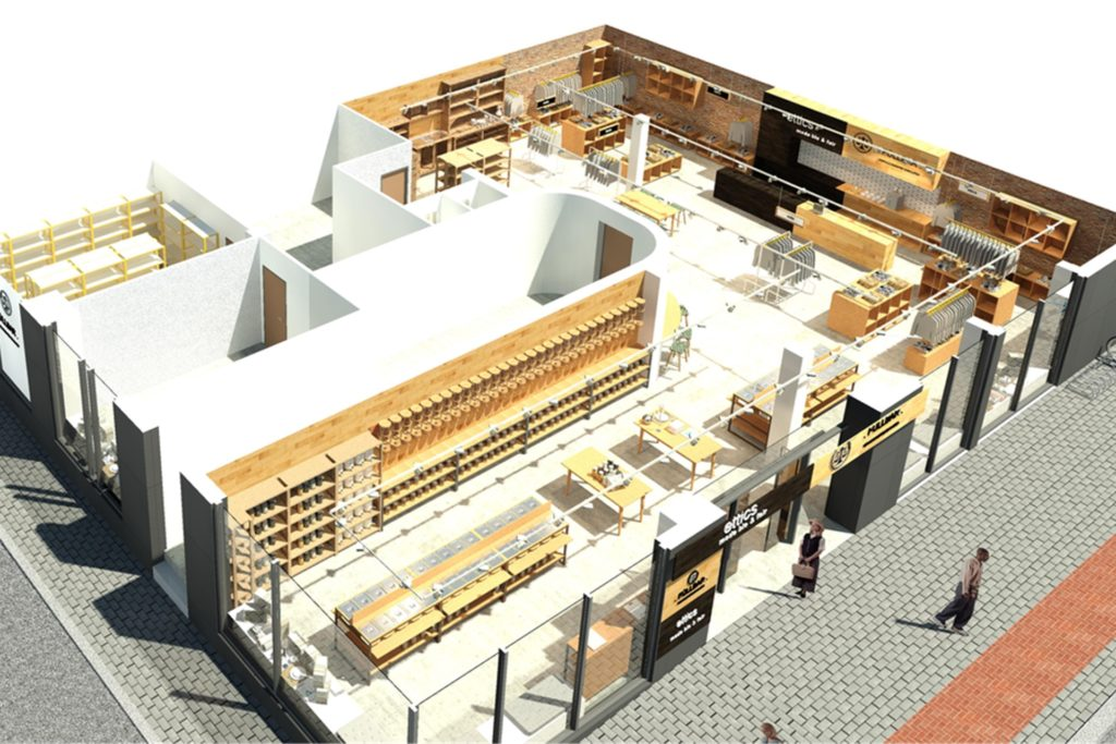 So sieht die 3D-Vogelperspektive des neuen Dortmunder Ettics-Store in der Kaiserstraße aus. Aktuell wird noch umgebaut, am 1. August soll eröffnet werden.