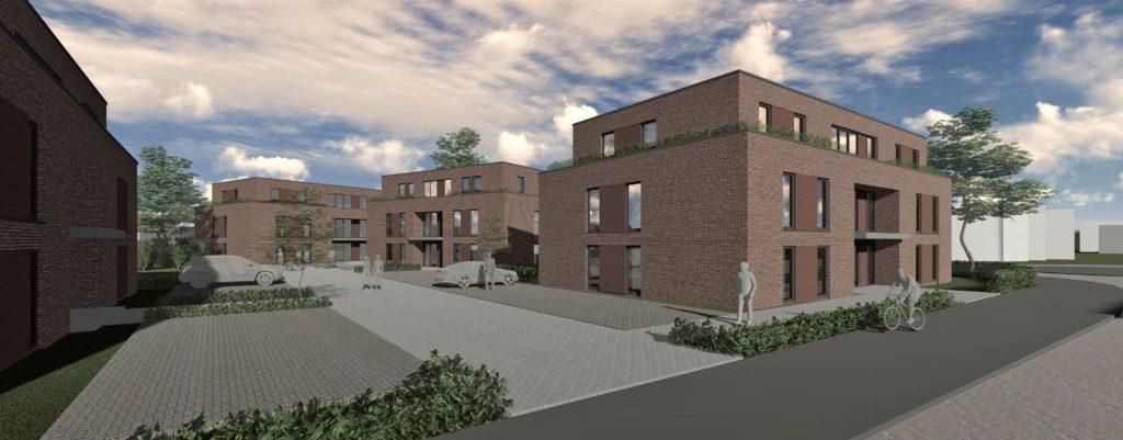 So hatte die ursprüngliche Planung für die vier neuen Gebäude ausgesehen. An den Grundrissen der Wohnungen hat sich nichts verändert. Allerdings werden jetzt Walm- statt Flachdächer geplant. 40 Prozent der Grundstücksfläche sollen begrünt werden.