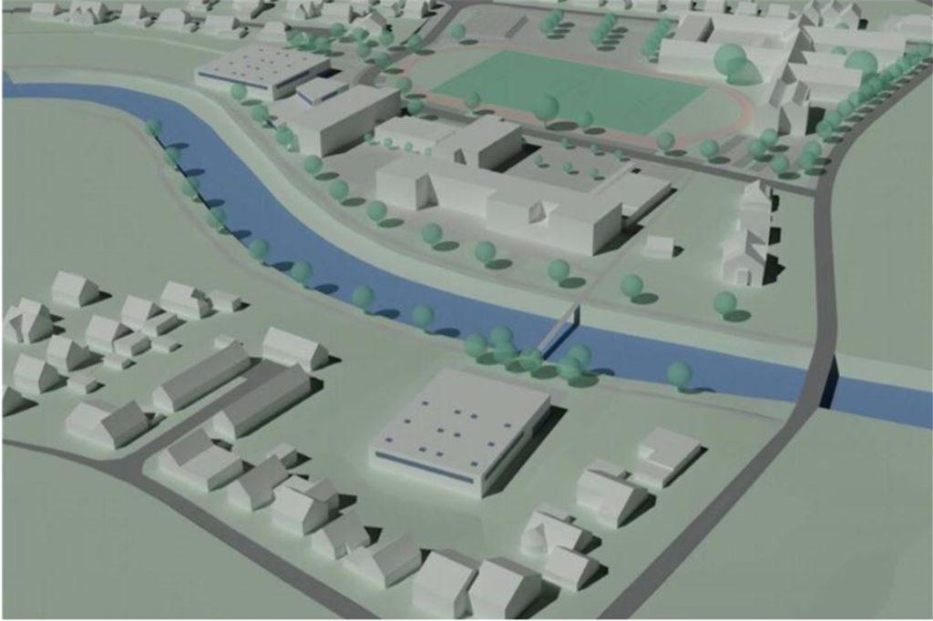 Die vom Rat verabschiedete Variante sieht den Bau einer Zweifachhalle jenseits der Berkel im Vredener Schulzentrum vor. Dafür wird der Bau einer Brücke erforderlich.