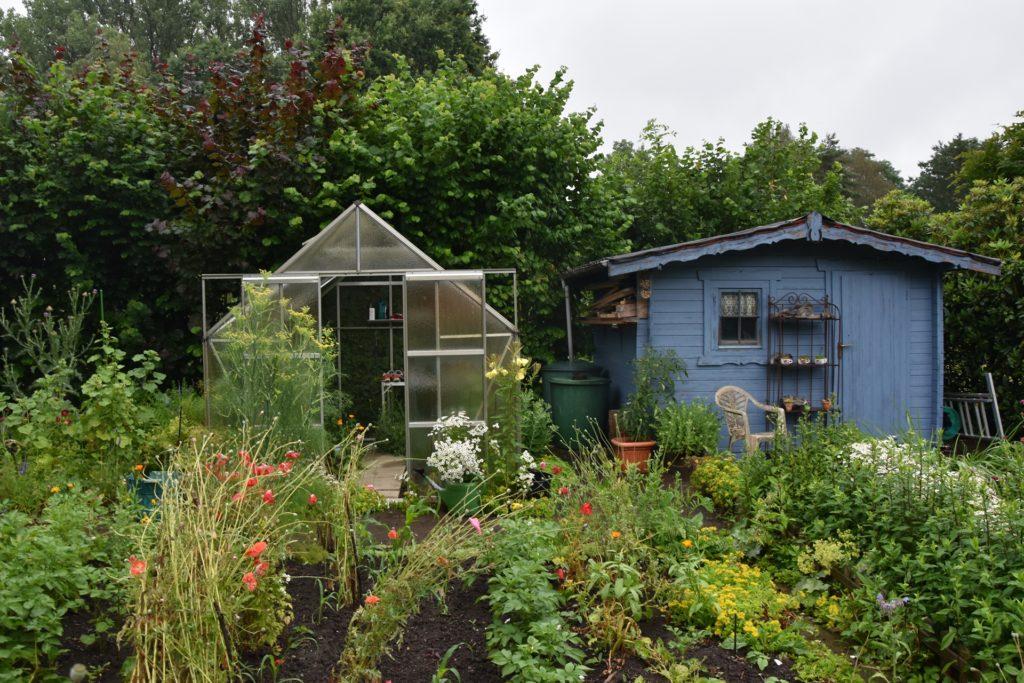 In den Beeten und Gewächshäusern werden verschiedene Arten Obst und Gemüse angebaut.