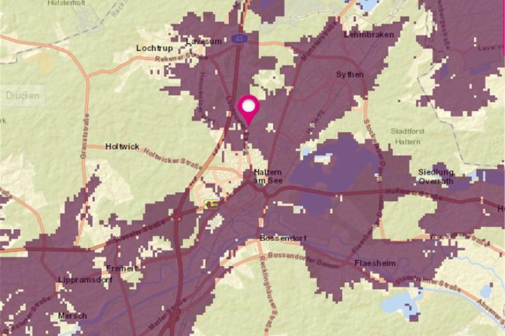 Auf einer interaktiven Karte kann man sich den aktuellen Stand zum 5G-Mobilfunkstandard in Haltern anzeigen lassen (Stand 16. Juli)