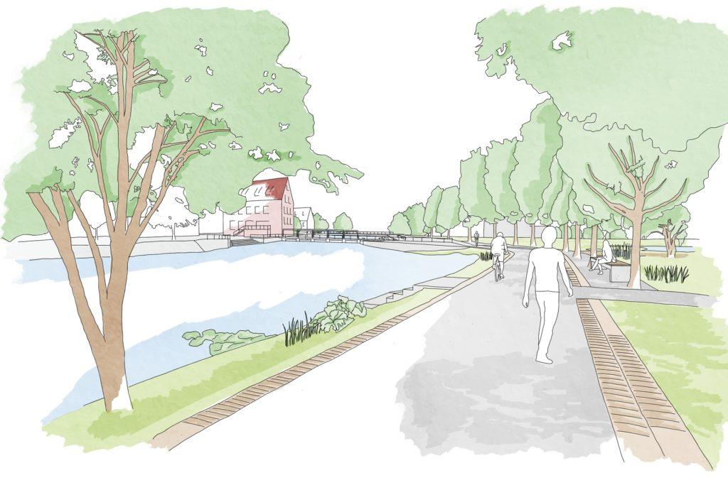 So soll die Uferpromenade mit dem Blick in Richtung Mühlenwehr einmal aussehen.