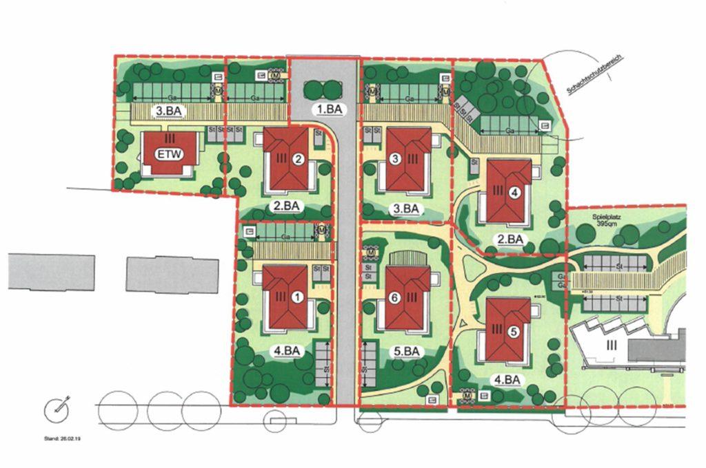 So verteilen sich die geplanten Häuser auf dem Grundstück.