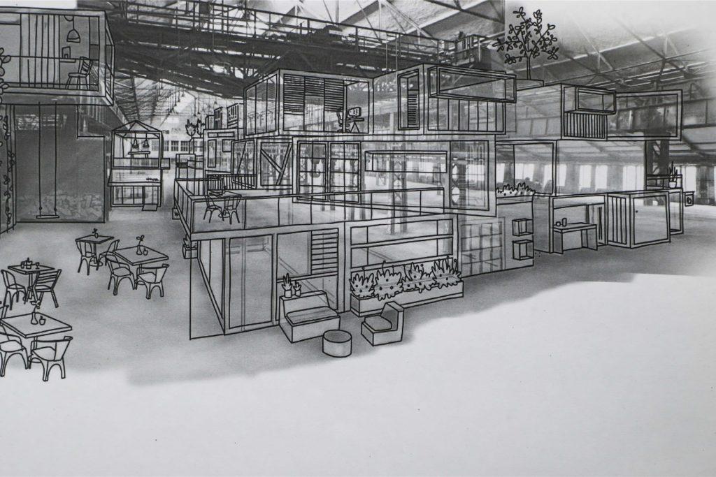 Ein Plan für das Schalthaus 101 auf Phoenix-West in Dortmund