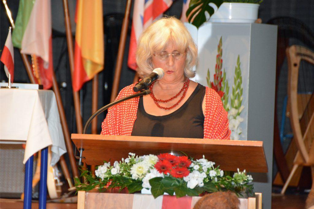 Monika Zientz 2016 während des Festakts zur Gründung der Städtepartnerschaft mit Iwkowa.