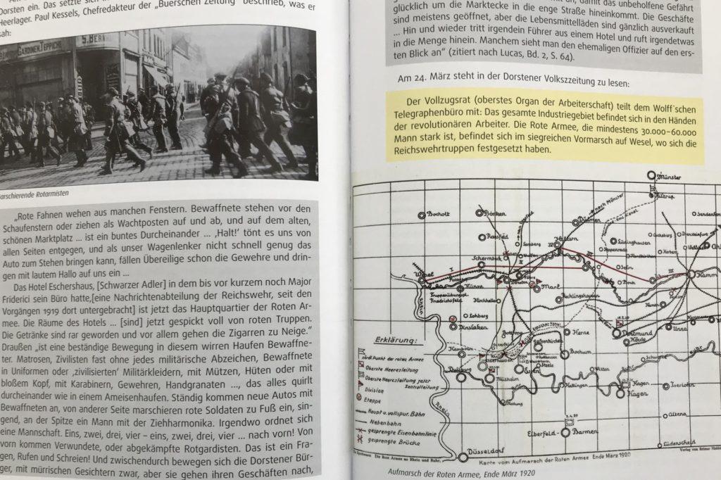 Mit Karten, alten Fotos und unterschiedlichen Farb-Unterlegungen der Texte (hier zum Beitrag
