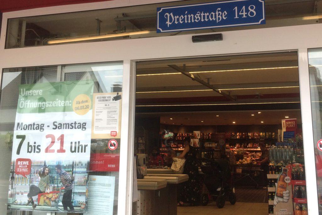 Preinstraße 148: An diesem Standort seinen derzeit keine Veränderungen geplant, teilt Rewe auf Anfrage mit.
