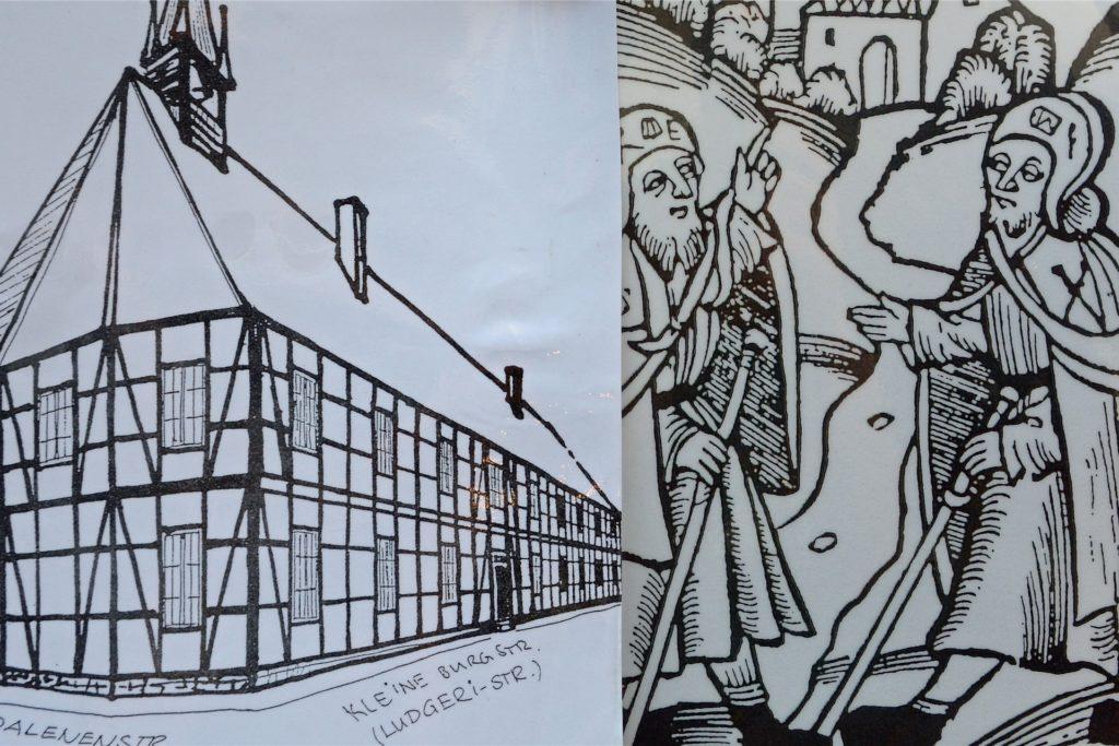Mehr als Skizzen - wie es einmal ausgesehen haben könnte - sind heute vom ehemaligen Hospital nicht mehr übrig. Es diente auch als Gasthaus für Pilger. Die Kapuziner hingegen nutzten die Kapelle für Gottesdienste.