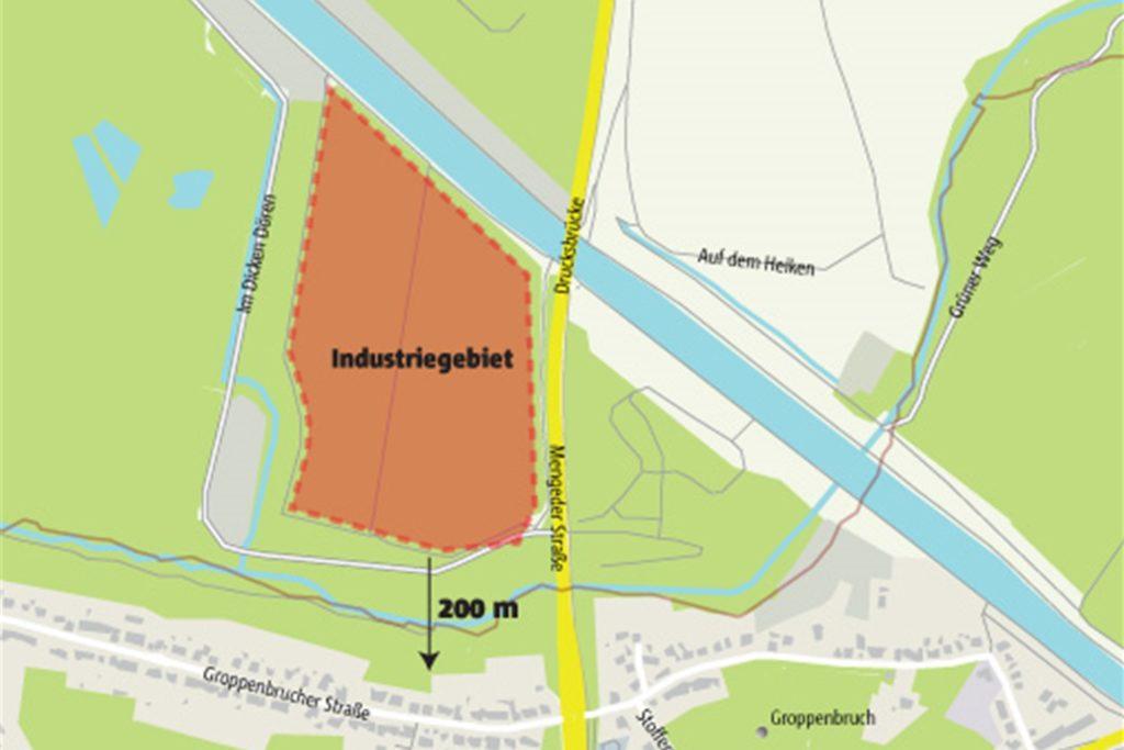 Nicht der Kanal, sondern erst der Groppenbach bildet die Stadtgrenze zwischen Dortmund und Waltrop. In diesem äußersten Zipfel ihres Stadtgebiets möchte die Stadt Waltrop in 200 Metern Entfernung zur Groppenbrucher Straße Industrie ansiedeln.