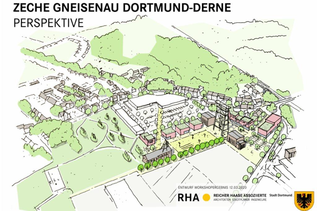 So wie auf dieser Grafik könnte einmal das Gelände der ehemaligen Zeche Gneisenau mit dem bisherigen Derner Ortskern verzahnt werden. Zu erkennen ist als weiße Fläche mit Gebäuden das Einkaufszentrum und davor das Zechenareal mit Tomson-Bock in der Mitte und dem Doppelbock-Fördergerüst rechts