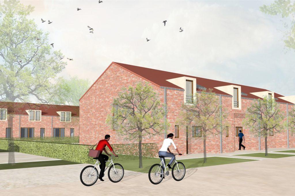 So werden die Reihenhäuser im Neubaugebiet Erningfeld aussehen. Im Herbst 2021 sollen sie bezugsfertig sein.