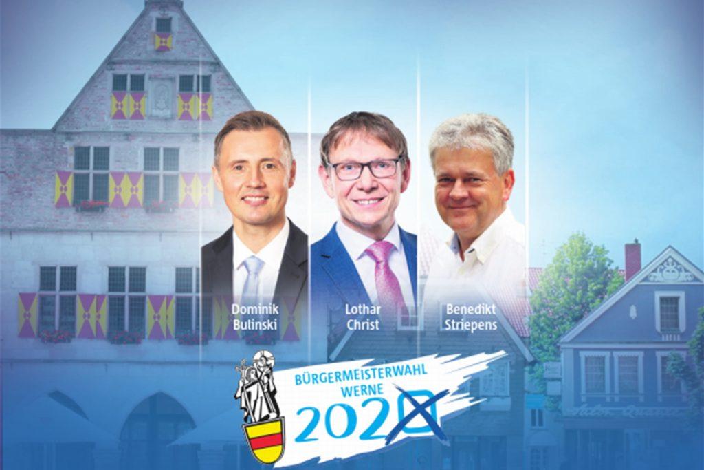 Dominik Bulinski (CDU), Lothar Christ (parteilos) und Benedikt Striepens (Grüne) kandidieren 2020 für das Amt des Bürgermeisters in Werne.