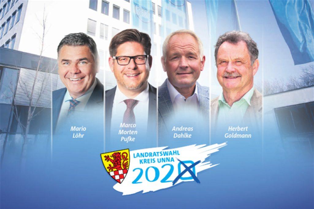 Kandidieren für den Landratsposten des Kreises Unna (v.l.): Mario Löhr (SPD), Marco Morten Pufke (CDU), Andreas Dahlke (GFL) und Herbert Goldmann (Grüne). Nicht im Bild - aber dennoch im Rennen - ist Susanne Schneider (FDP).
