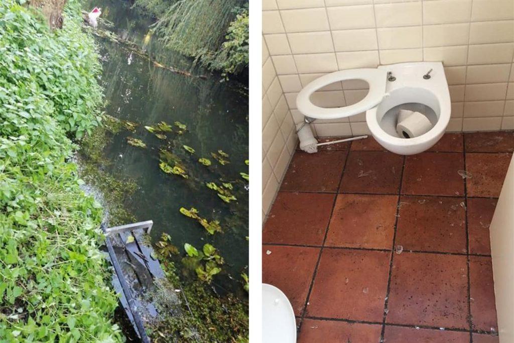 """Eine Bank in der Schlinge, beschädigte Toiletten, Ruhestörung in der Nachbarschaft: """"Das Maß ist voll"""", sagt Theo Pass."""