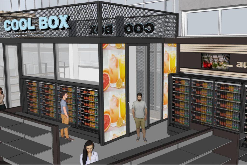 Eine der geplanten Neuerungen: die gläserne Coolbox. Von dort sollen gekühlte Getränke auch kistenweise angeboten werden.