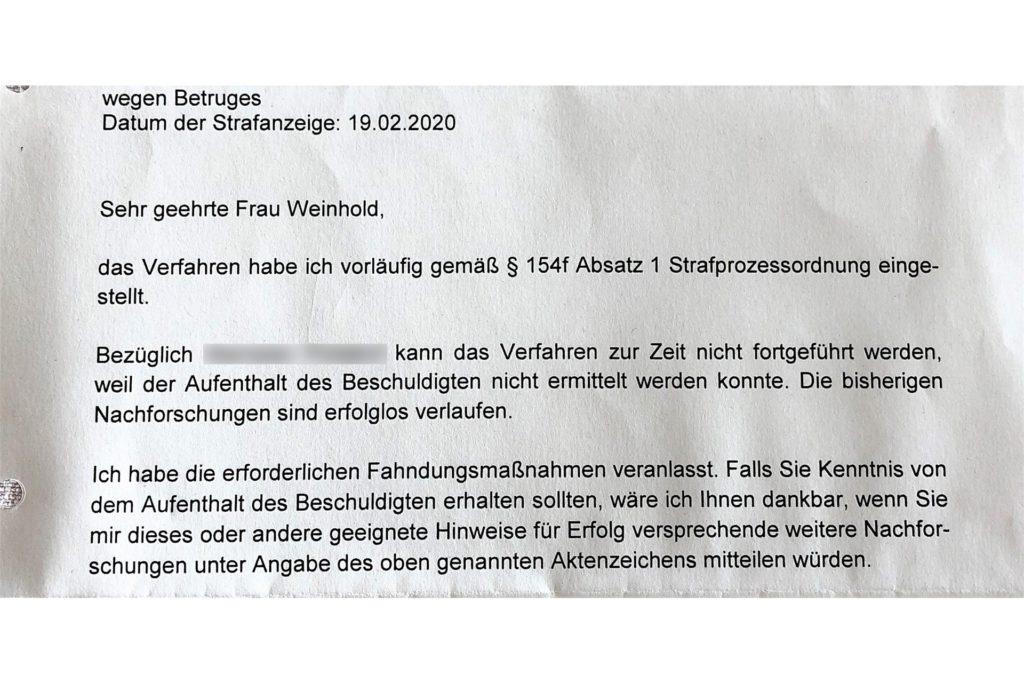 Dieses Schreiben (Auszug) erhielt Birgit Weinhold Anfang September von der Staatsanwaltschaft Dortmund