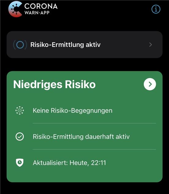 Meine Corona-Warn-App ist seit Monaten grün. Sich kontaktscheu zu verhalten, bringt offensichtlich etwas.