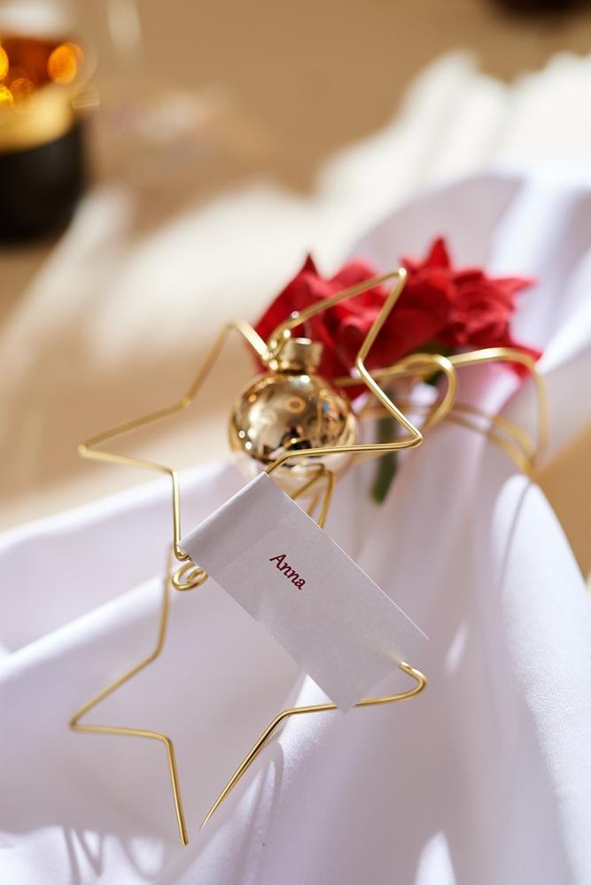 Auch als Schnittblume kann man den Weihnachtsstern verwenden. Wie hier als Deko für den Serviettenring.