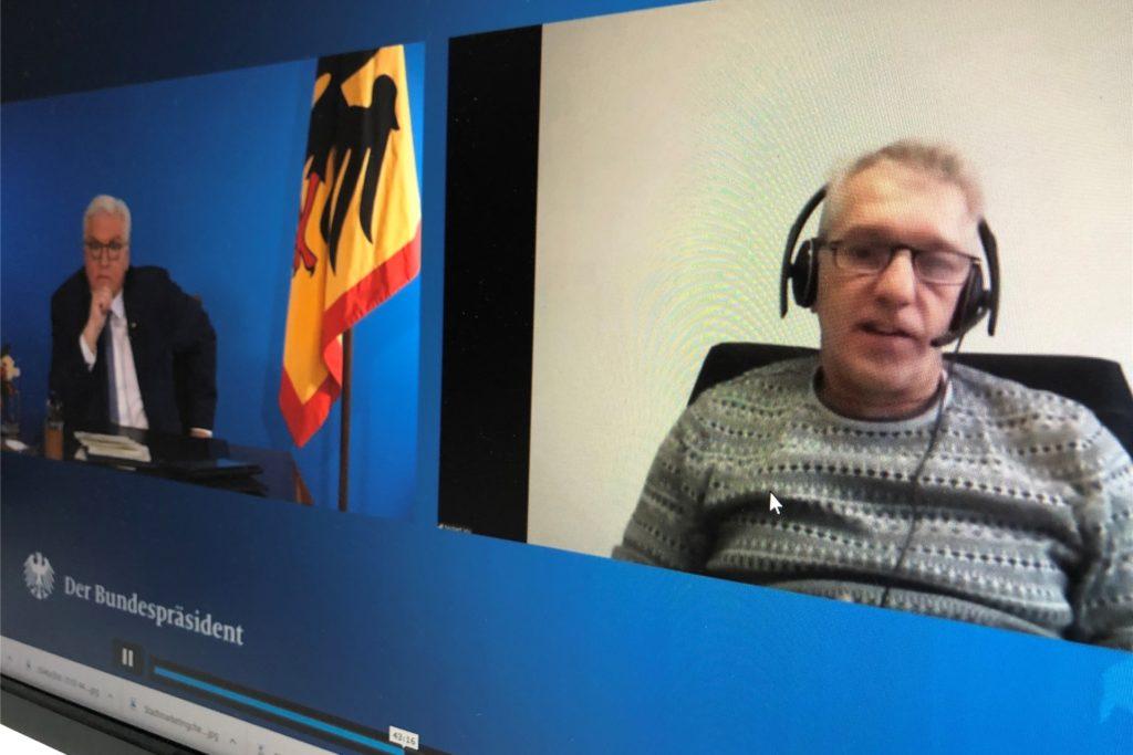 Bundespräsident Frank-Walter Steinmeier hat am 11. Dezember im Livestream sieben Bürgerinnen und Bürger zu seiner ersten