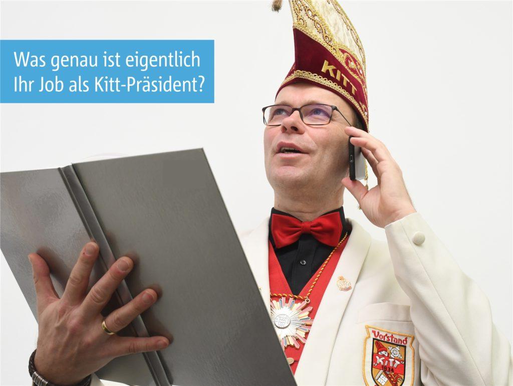 Viel organisieren und Lösungen finden - das gehört vor allem zum Job des Kitt-Präsidenten. Deshalb wird die Session auch nicht ganz ins Wasser fallen in Olfen - am Samstag vor Rosenmontag (13. Februar) ist eine Online-Sitzung geplant.