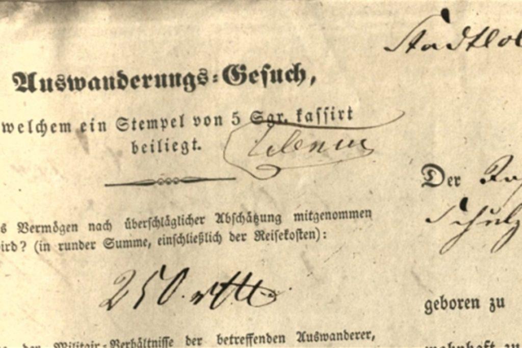 Hunderte von Stadtlohnern suchten im 19. Jahrhundert wie die Rolwings ihr Glück in der Neuen Welt. Dafür mussten sie zunächst ein Gesuch stellen, um aus dem preußischen Untertanenstande entlassen zu werden.