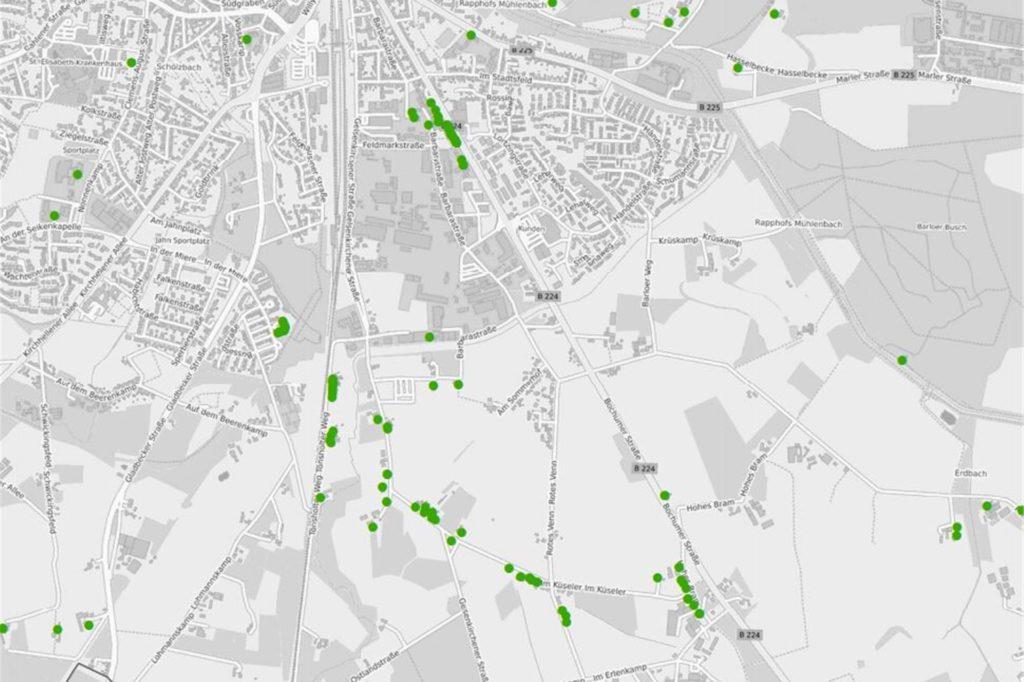 Ein Beispiel für förderfähige Bereiche: Hier die berechtigten Haushalte aus der Feldmark und aus Ulfkotte.