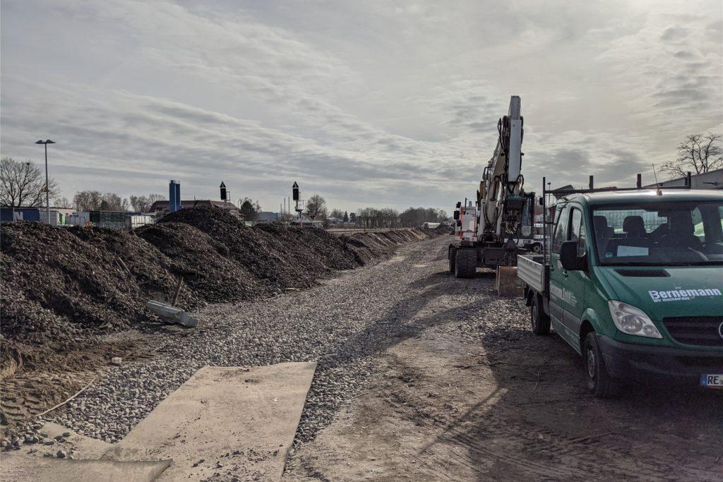 Die Arbeiten an der Grün- und Wegeverbindung sind Richtung Süden gezogen.