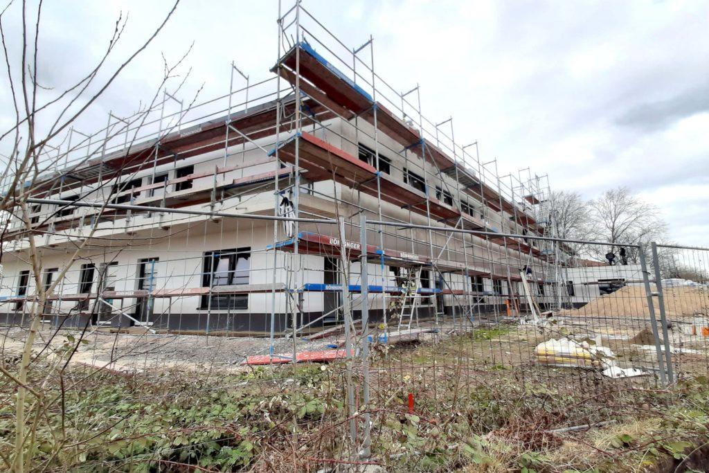 Der Neubau der Kita an der Ecke Am Beilstück/An der Witwe schreitet zügig voran.