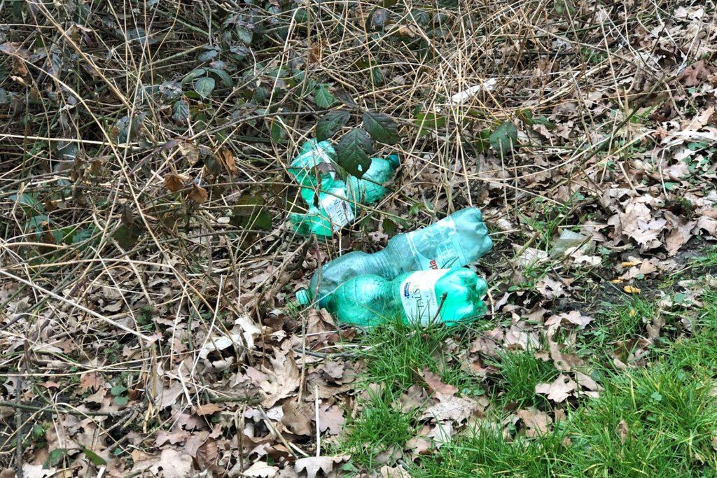 Weggeworfene Flaschen auf dem Rastplatz An der Landwehr.