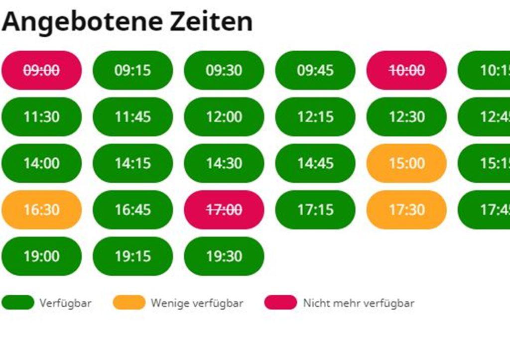 So sah die Übersicht verfügbarer Termine im Ikea-Möbelhaus Kamen am Sonntagmittag aus. Die verschiedenen Möbelanbieter in der Region verwenden unterschiedliche Anmeldeverfahren fürs Terminshopping.