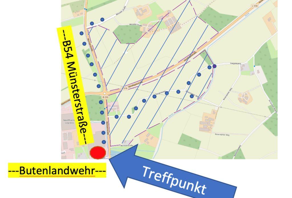 Eine berührungslose Menschenkette soll die Ausmaße des geplanten Industriegebiets erlebbar machen.