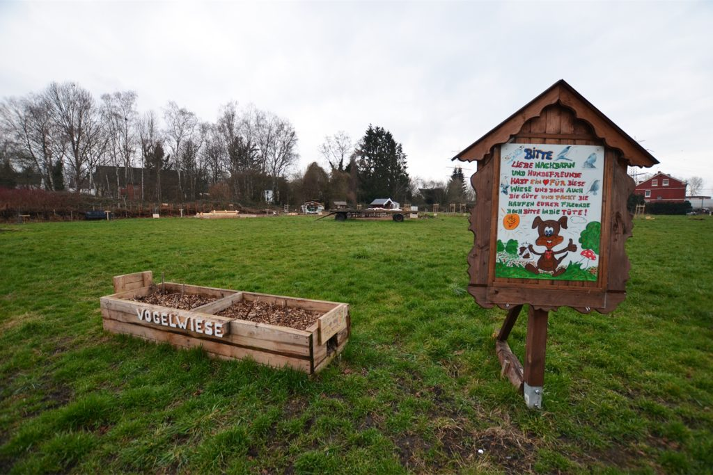Die Vogelwiese ist eine von den Anwohnern gestaltete Natur- und Grünfläche. Die Kinder des Viertels haben hier reichlich Raum zum Spielen. Rechts verläuft die Straße Erlenkamp.
