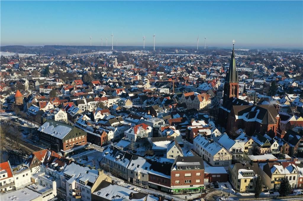 Halterns Stadtkern von oben betrachtet.