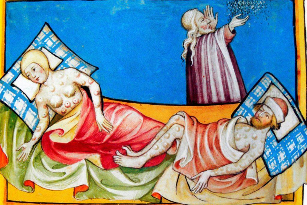 Die (Beueln-) Pest und der Hausarzt. Miniatur aus der Toggenburger Bibel (Schweiz) von 1411.