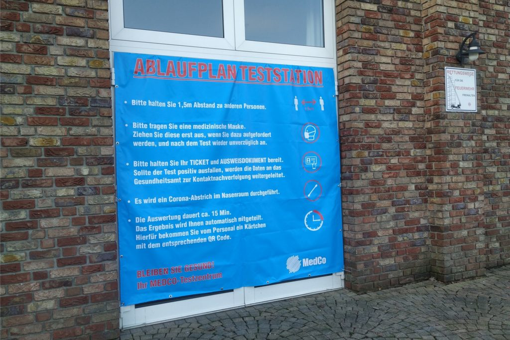 Ablauf im Testzentrum im Brauhaus am Ring in Kirchhellen.