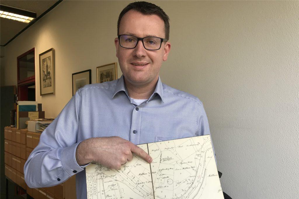 Stadtarchivar Martin Köcher hat per Zufall den Standort der rätselhaften Villa Großbüning auf einer Karte von 1912 entdeckt.