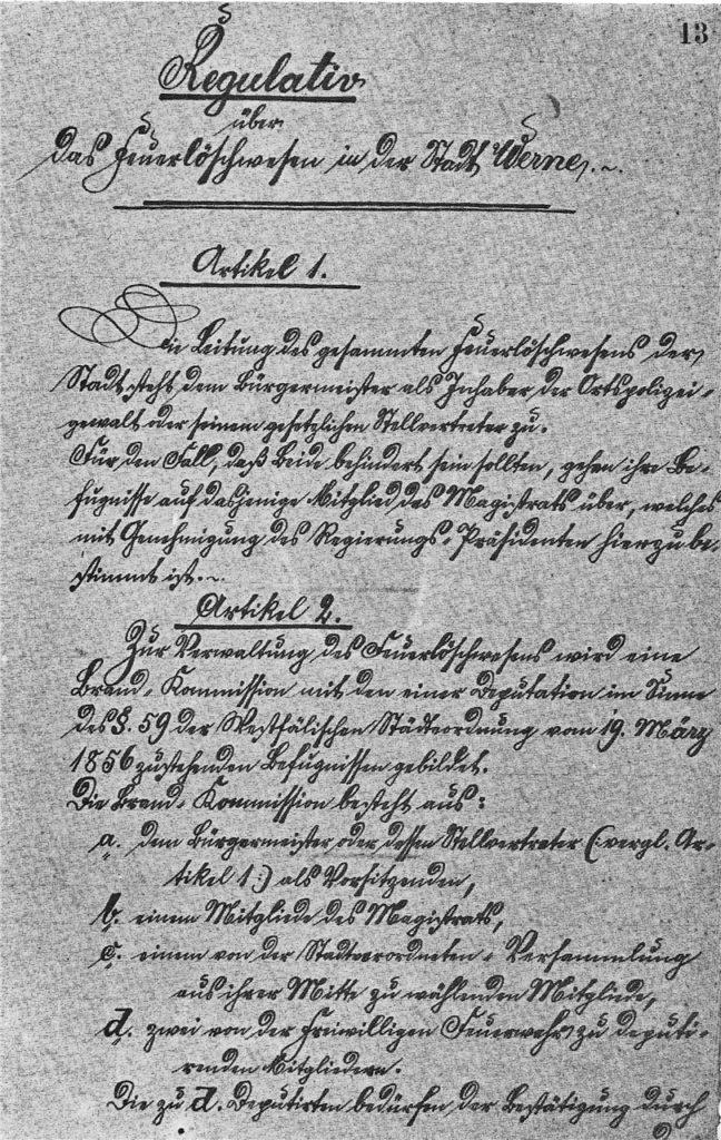 """Das """"Regulativ über das Feuerlöschwesen in der Stadt Werne"""" von 1863"""