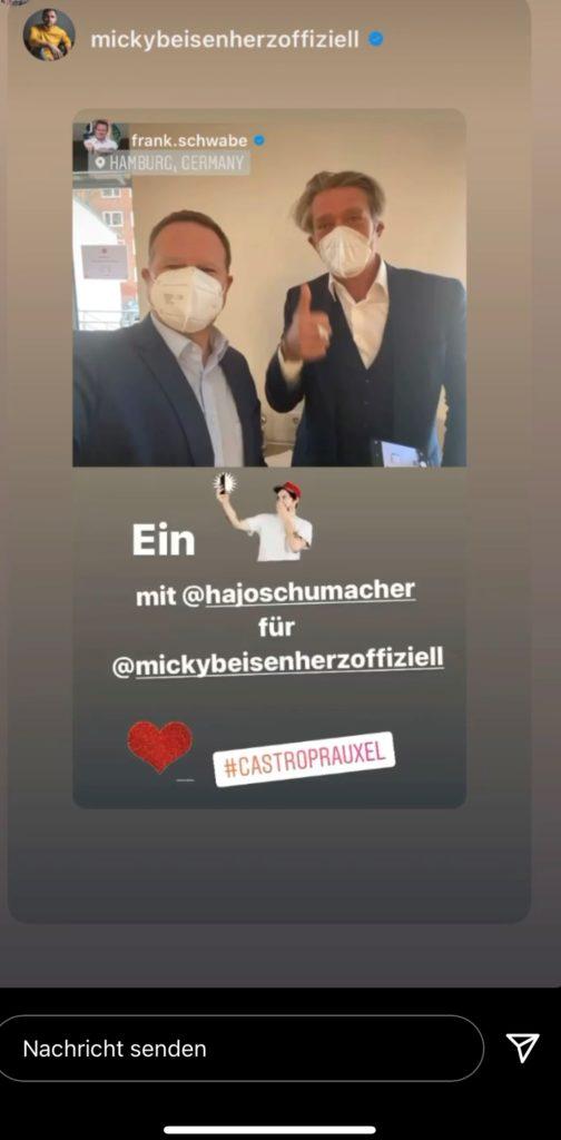 Schwabe und Schumacher posteten ein Selfie, Micky Beisenherz übernahm es in seine Instagram-Story.