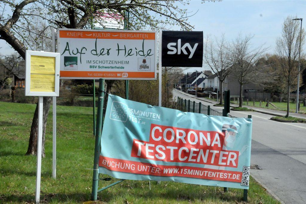 Seit drei Wochen gibt es das Corona-Schnelltestzentrum beim Bürgerschützenverein Schwerterheide an der Heidestraße 55.
