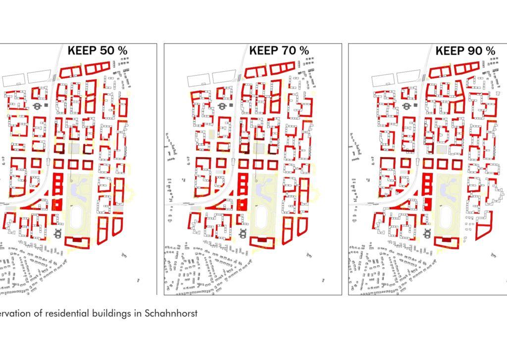 Die Pläne zeigen drei Varianten mit unterschiedlich viel Erhalt der Bausubstanz. In rot eingezeichnet sind die Gebäude, die verändert werden würden.