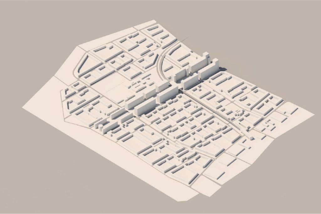 Das 3D-Modell zeigt die neu geplante Höhe der Gebäude. Die U-Bahn-Linie bleibt erhalten.