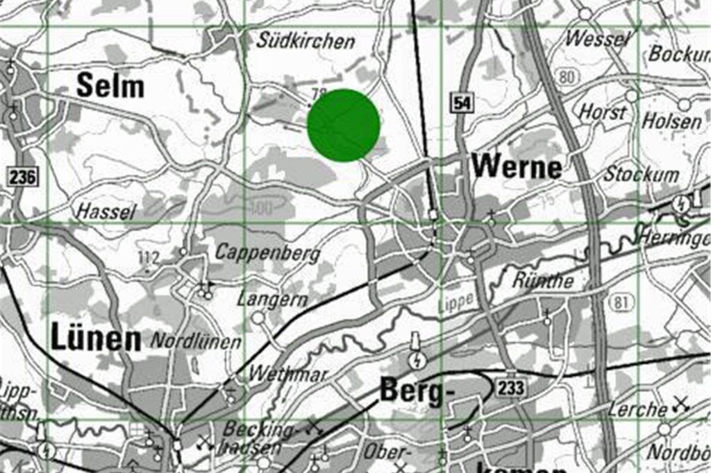 In diesem Bereich an der Südkirchener Straße in Werne ging ein Wolf in eine Fotofalle.