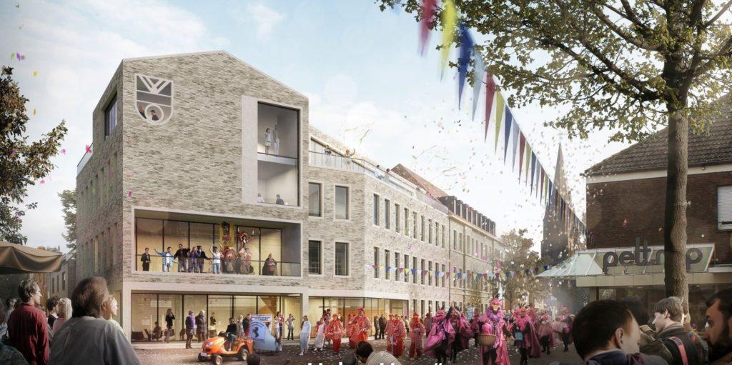 Der Entwurf von DBCO macht deutlich, dass das dann erweiterte Rathaus den Ortskern ganz neu prägen wird.