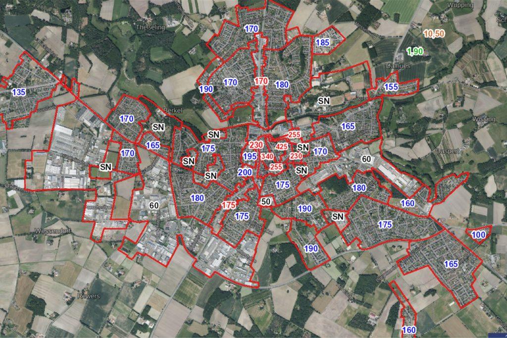 Auf der Internetseite des Landes NRW werden die Bodenrichtwerte für jedes Wohnviertel in Stadtlohn angezeigt.
