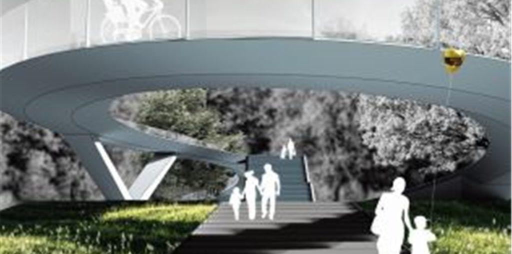Eine Treppe und eine geschwungene Rampe vereint der Brückenentwurf von Schlaich Bergermann + Partner.
