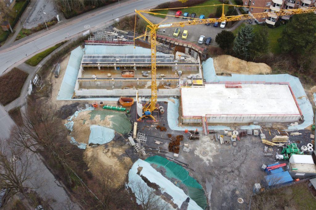 Blick von oben auf die Baustelle