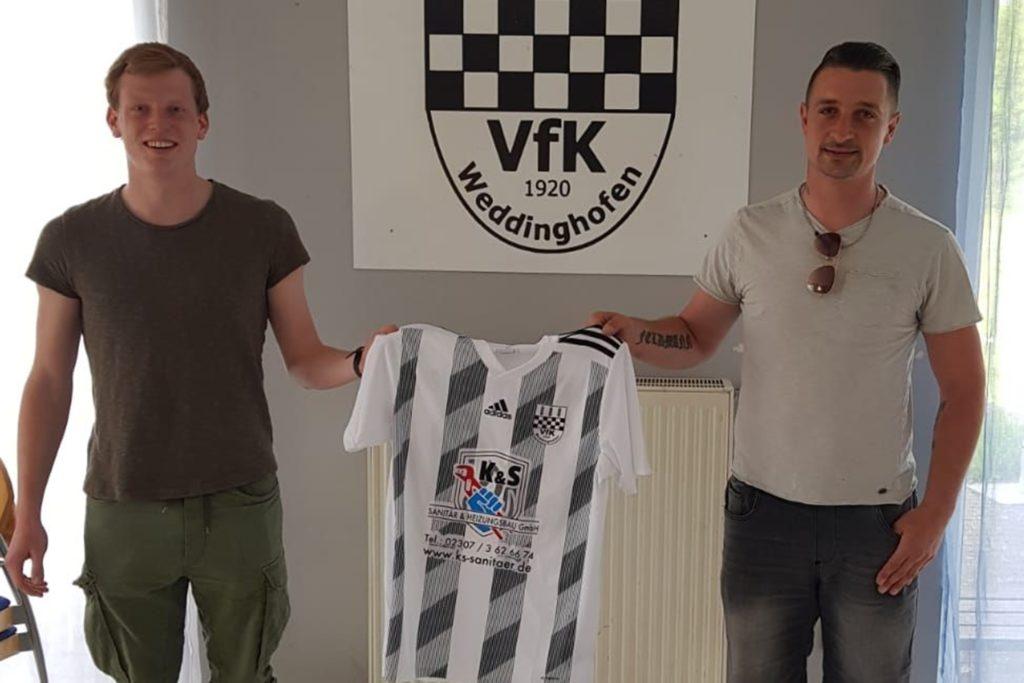 Marvin Machmüller (l.) und VfK-Coach Stefan Feldmann kennen sich noch aus gemeinsamen Zeiten beim Kamener SC.