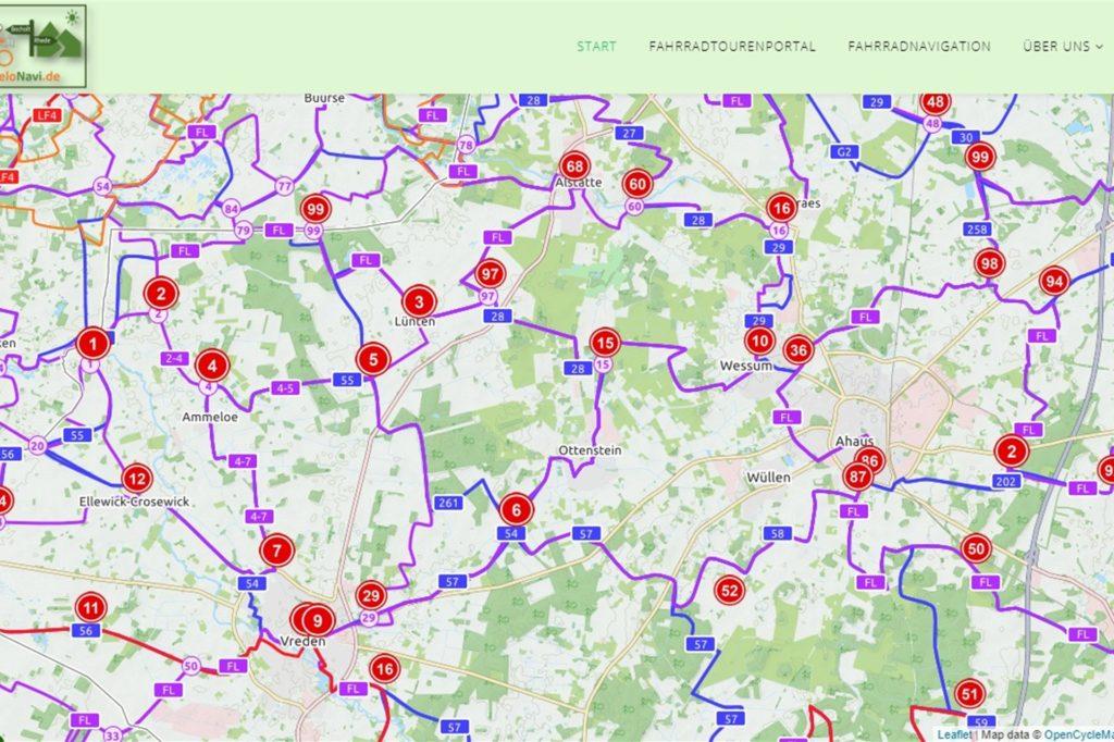 Digital: Für seine Seite VeloNavi.de hat Albrecht Liesmann die Knotenpunkte des Kreis Borken digitalisiert. Doch auch im Radroutenplaner NRW sind sie online bereits verzeichnet.