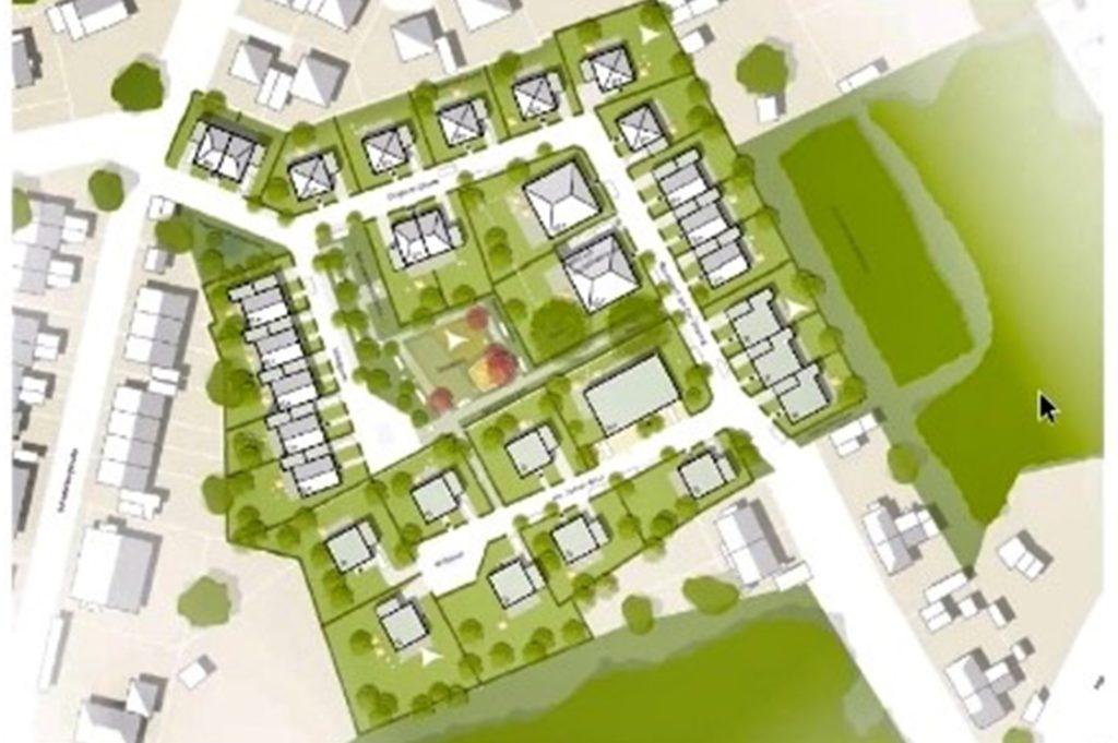 Das Neubaugebiet in Dingen, wie es nach den neuesten Planungen aufgeteilt sein soll. Links die Schieferbergstraße, rechts unten die Dingener Straße.